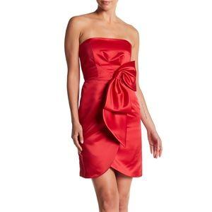 Milly satin strapless bow faux wrap body con dress